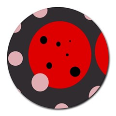 Red and pink dots Round Mousepads