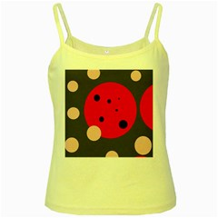 Red and pink dots Yellow Spaghetti Tank