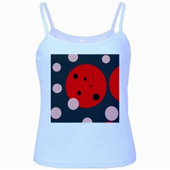 Red and pink dots Baby Blue Spaghetti Tank
