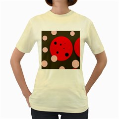 Red and pink dots Women s Yellow T-Shirt