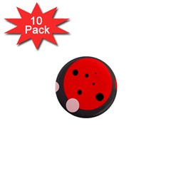 Red and pink dots 1  Mini Magnet (10 pack)