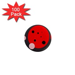 Red and pink dots 1  Mini Magnets (100 pack)