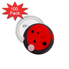 Red and pink dots 1.75  Buttons (100 pack)