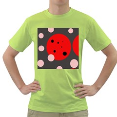 Red and pink dots Green T-Shirt