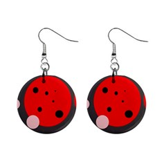 Red And Pink Dots Mini Button Earrings