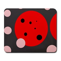 Red and pink dots Large Mousepads