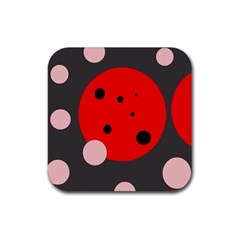 Red and pink dots Rubber Square Coaster (4 pack)