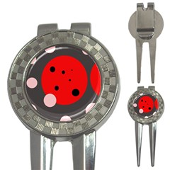 Red and pink dots 3-in-1 Golf Divots