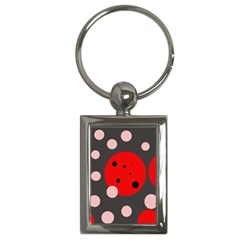 Red and pink dots Key Chains (Rectangle)