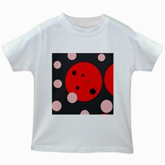 Red and pink dots Kids White T-Shirts