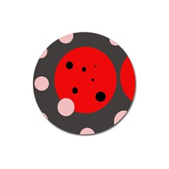 Red and pink dots Magnet 3  (Round)