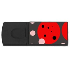Red and pink dots USB Flash Drive Rectangular (1 GB)