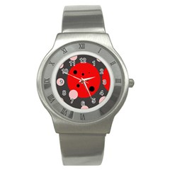 Red and pink dots Stainless Steel Watch