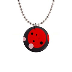 Red and pink dots Button Necklaces