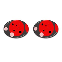 Red and pink dots Cufflinks (Oval)