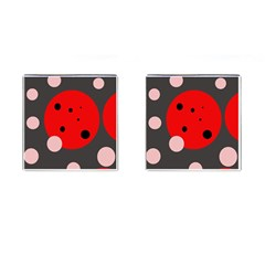 Red and pink dots Cufflinks (Square)