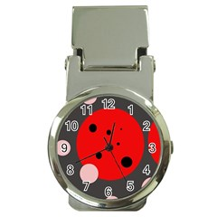Red and pink dots Money Clip Watches