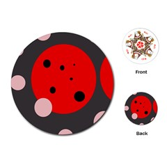 Red and pink dots Playing Cards (Round)