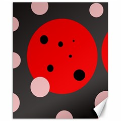 Red and pink dots Canvas 16  x 20