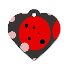 Red and pink dots Dog Tag Heart (One Side)
