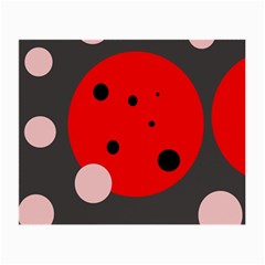 Red and pink dots Small Glasses Cloth (2-Side)