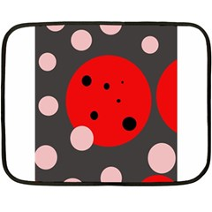 Red and pink dots Double Sided Fleece Blanket (Mini)