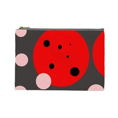 Red and pink dots Cosmetic Bag (Large)