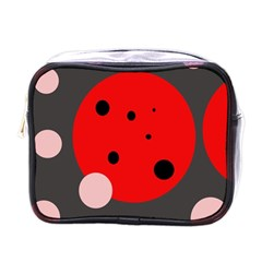 Red and pink dots Mini Toiletries Bags