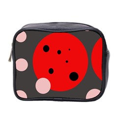 Red and pink dots Mini Toiletries Bag 2-Side