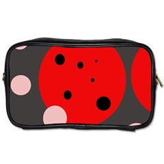 Red and pink dots Toiletries Bags 2-Side