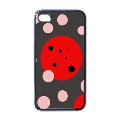 Red and pink dots Apple iPhone 4 Case (Black)