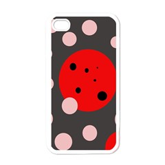Red and pink dots Apple iPhone 4 Case (White)