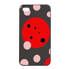 Red and pink dots Apple iPhone 4/4s Seamless Case (Black)