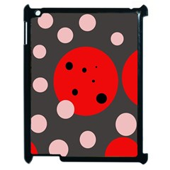 Red and pink dots Apple iPad 2 Case (Black)