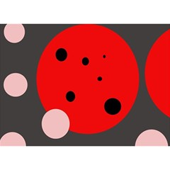 Red and pink dots Birthday Cake 3D Greeting Card (7x5)