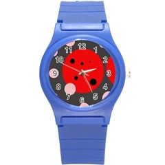 Red and pink dots Round Plastic Sport Watch (S)