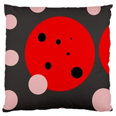 Red and pink dots Large Cushion Case (Two Sides)