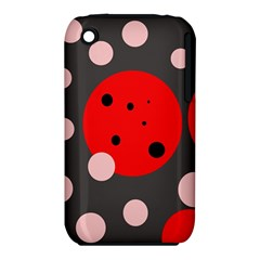 Red and pink dots Apple iPhone 3G/3GS Hardshell Case (PC+Silicone)