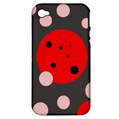 Red and pink dots Apple iPhone 4/4S Hardshell Case (PC+Silicone)