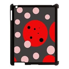 Red and pink dots Apple iPad 3/4 Case (Black)