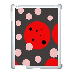 Red and pink dots Apple iPad 3/4 Case (White)