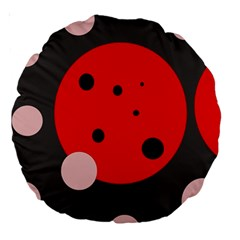 Red and pink dots Large 18  Premium Round Cushions