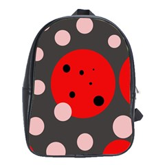 Red and pink dots School Bags (XL)