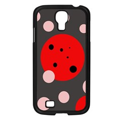 Red and pink dots Samsung Galaxy S4 I9500/ I9505 Case (Black)