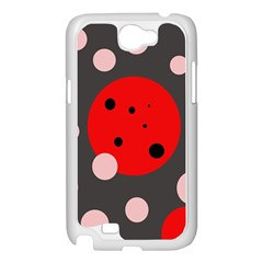 Red and pink dots Samsung Galaxy Note 2 Case (White)