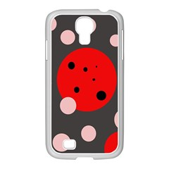 Red and pink dots Samsung GALAXY S4 I9500/ I9505 Case (White)