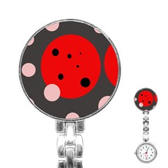 Red and pink dots Stainless Steel Nurses Watch