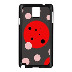 Red and pink dots Samsung Galaxy Note 3 N9005 Case (Black)