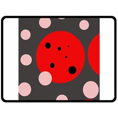 Red and pink dots Double Sided Fleece Blanket (Large)
