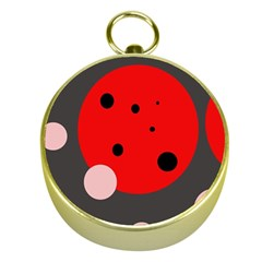 Red and pink dots Gold Compasses